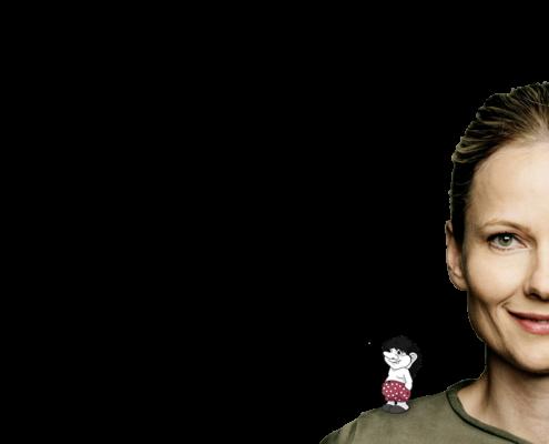 Anna Stelvig med fupperen på skulderen